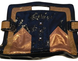 Hayden-Harnett black/gold/tan Clutch