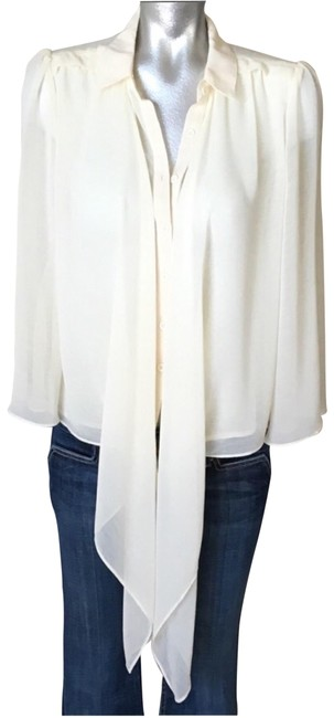 Item - Cream/Ivory Sheer Tie Front Blouse Size 6 (S)