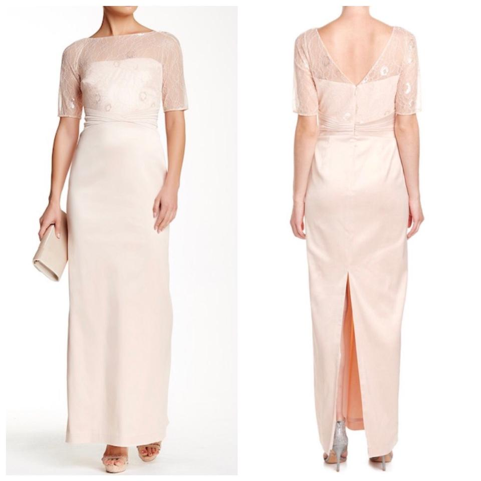 Kay Unger Pink Illusion Boatneck Lace Gown Long Formal Dress Size 8 ...