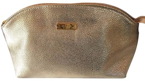 Clé de Peau Beauté CLE DE PEAU GOLD FAUX CAVIAR LEATHER COSMETICS MAKEUP BAG CASE POUCH