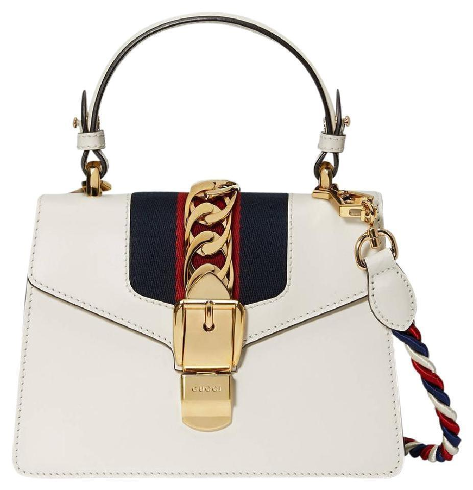 37b438ff08479b Gucci Top Handle Sylvie Mini White Leather Shoulder Bag - Tradesy