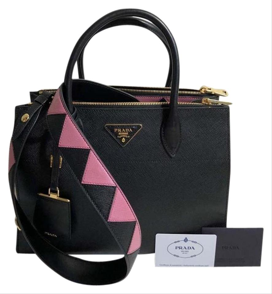 95851f20a053dc Prada Paradigme New Large Pink Saffiano Black Leather Shoulder Bag ...