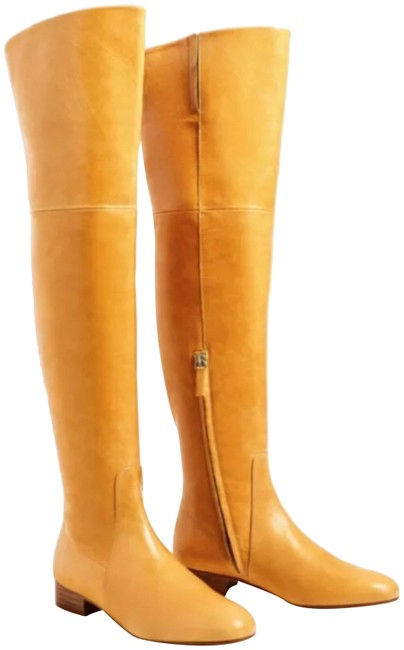 Item - Mustard Leather Over The Knee Flat Leather Boots/Booties Size US 5 Regular (M, B)