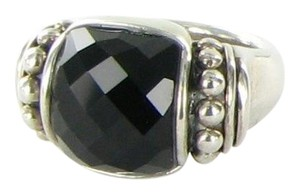 Lagos Caviar Maya Onyx Doublet Statement Ring Sterling Silver Size 7