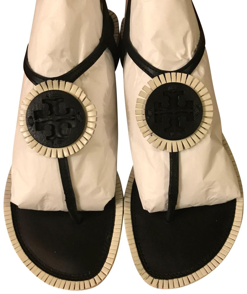 a45f99ce1 Tory Burch Black White Miller Fringe Sandals Size US 8 Regular (M
