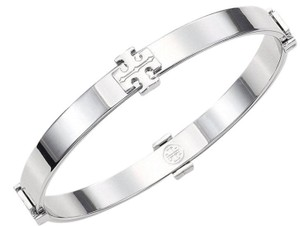Tory Burch Silver Logo Bangle Bracelet