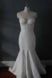 """Rebecca Schoneveld Natural White Cotton Corded Lace Over Cotton Sateen """"Ines"""" Modern Wedding Dress Size 8 (M)"""