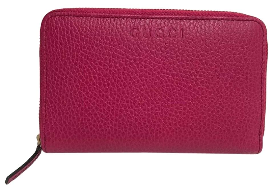efeb08f1014 Gucci Authentic New Gucci Fuchsia Leather Zip Around Coin Wallet 420113  Image 0 ...