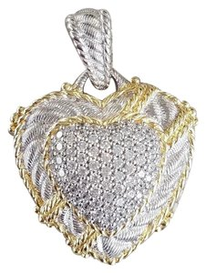 Judith Ripka Sterling Silver & 14K Clad diamonique puffed heart enhancer