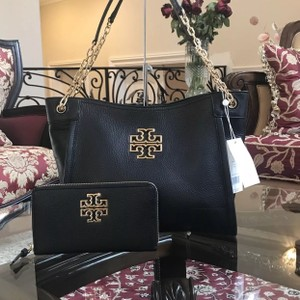 Tory Burch Pebbled Leather Leather Satchel in black