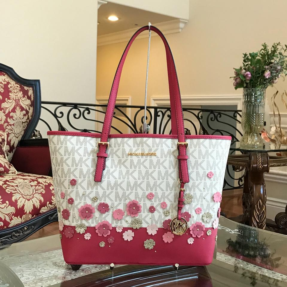 Michael Kors Carry All Jet Set Travel Signature Monogram Floral HandbagPurse VanillaGranita Saffiano Leather Tote