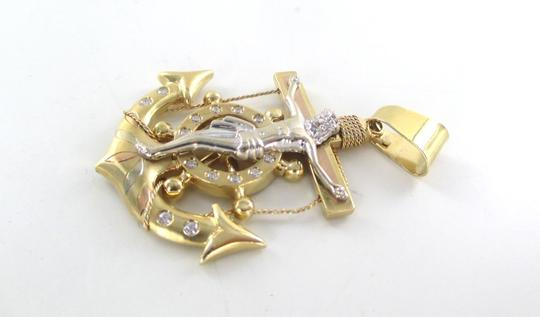 Other 14K SOLID YELLOW GOLD PENDANT FISHERMAN CRUCIFIX CROSS ANCHOR PROTECTION JESUSCR