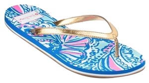 Lilly Pulitzer Lilly For Target Flip Flops Nwt Size 7 My Fans Sandals