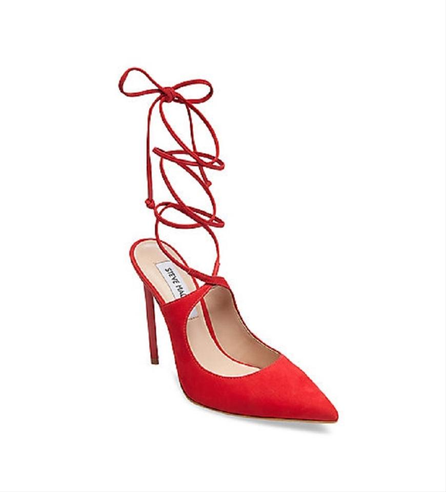 3668d81b080fa Steve Madden Red Raven Suede Leather Pointed Toe Ankle Strap Pumps Size US  7.5 Regular (M, B)