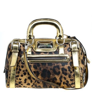 Dolce&Gabbana Dolce And Gabbana Miss Easy Way Boston Leather Satchel in Gold