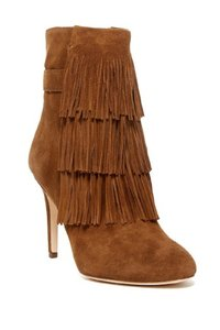 Via Spiga Suede Leather Fringe Ankle Brown Boots