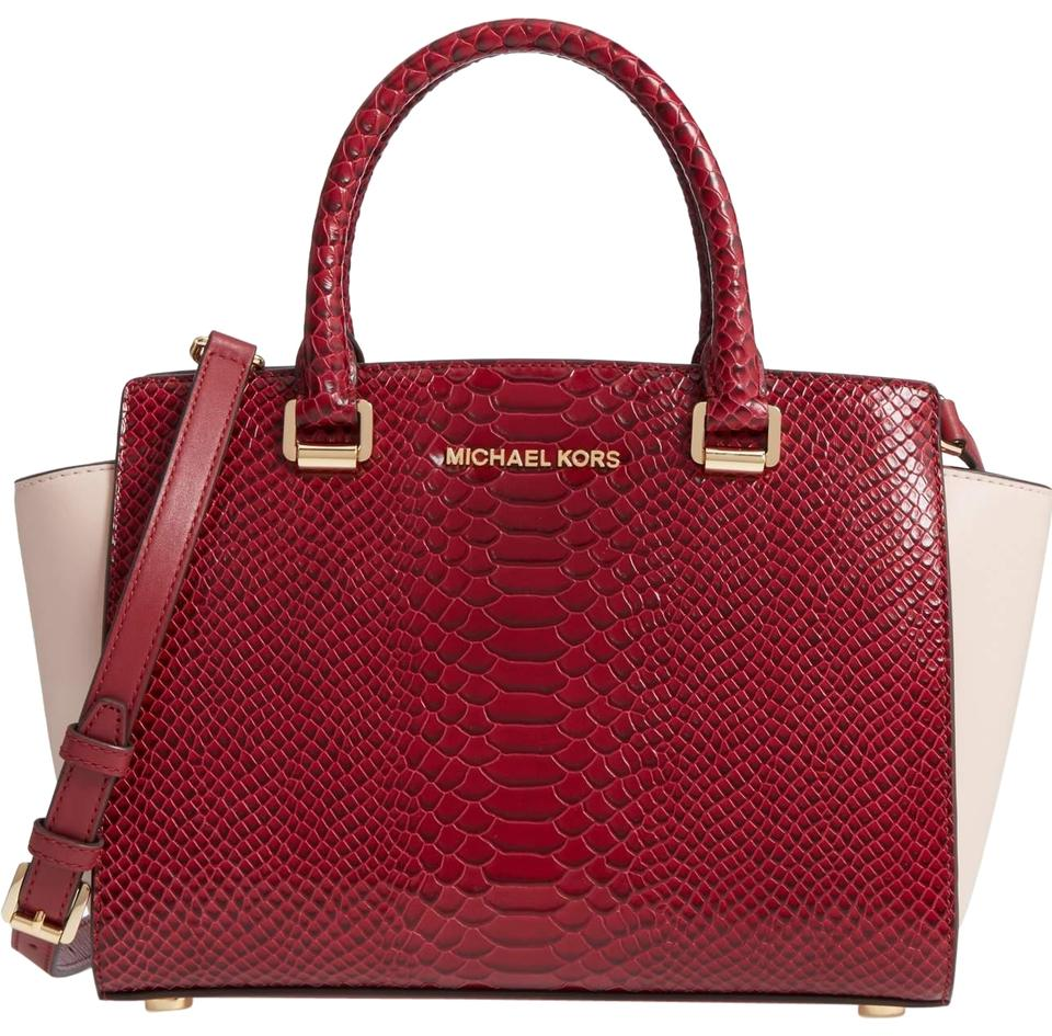 4655ebce2d2e5 Michael Kors Saffiano Leather Purse Selma Mk Top Zip Satchel in RED  LIGHT  PINK  ...
