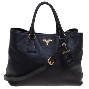 Prada Vitello Daino Leather Tote in Black