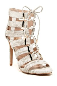 Vince Camuto Open Toe Snake Leather Lace Up Ankle Cream Pumps