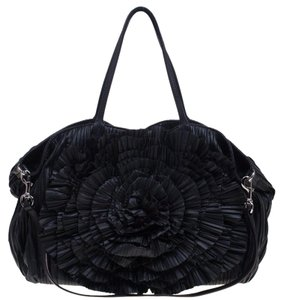 Valentino Nappa Leather Petale Tote in Black