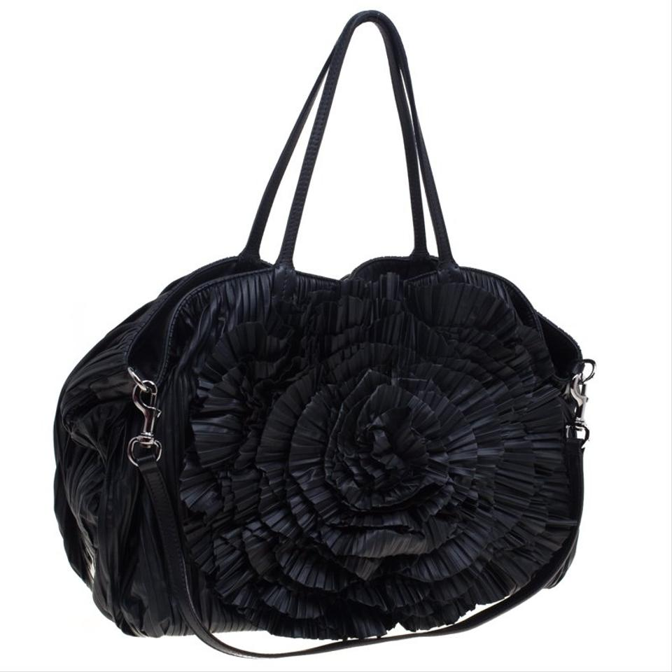 Ruffle Black Leather Tote Xl Petale Nappa Valentino ARTpR
