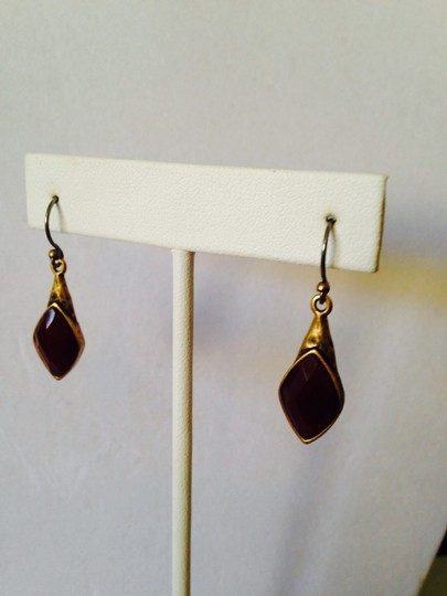 Lucky Brand NWOT Red Jade Faceted Set Stone Drop Earrings