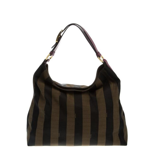 Item - Brown/Purple Pequin Canvas and Large Brown/Purple Leather Hobo Bag