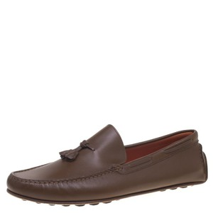 Hermès Leather Leonard Tassel Moccasins Brown Flats