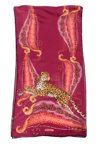 Salvatore Ferragamo Salvatore Ferragamo Italy Silk Burgundy Multi Animal Print Scarf