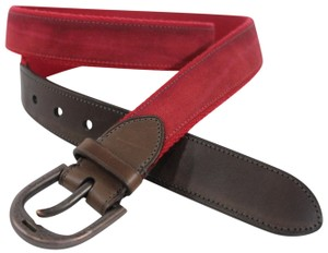 Coach Coach Red Fabric Brown Leather Classic New Men Fashion Belt