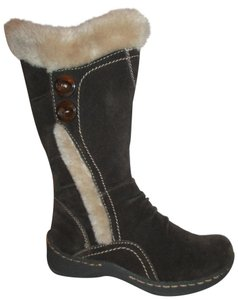 Bare Traps Suede Leather Faux Fur Waterproof brown & beige Boots