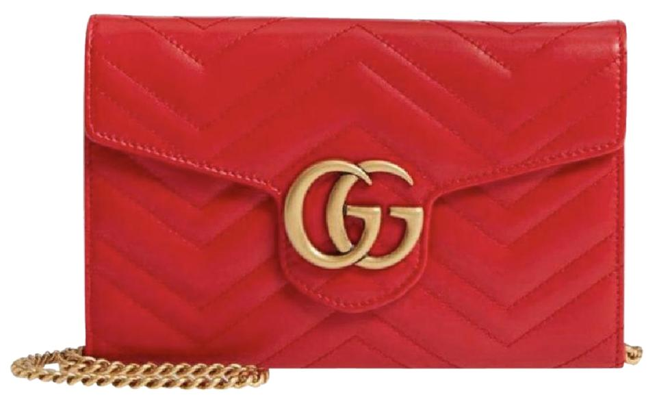 52ae9926be1921 Gucci Wallet on Chain Marmont Mini Quilted Red Lambskin Leather ...