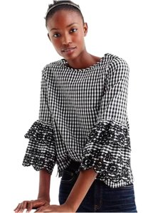J.Crew Spring Summer Gingham Sleeve Ruffle Top Black white