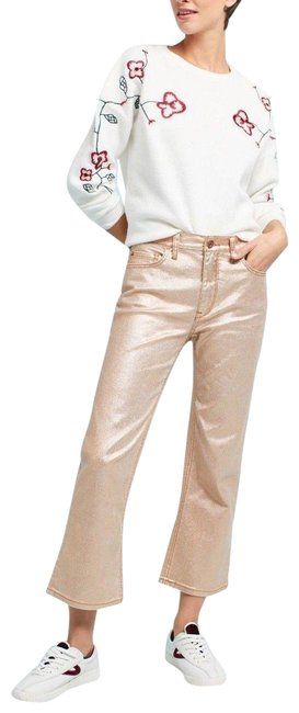 Item - Soft Gold Pilcro Coated High-rise Flare Capri/Cropped Jeans Size 27 (4, S)