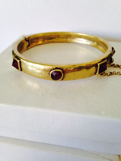 Lucky Brand Lucky Brand Gold-Tone Red Jade Bangle