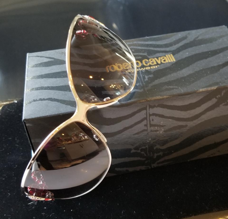 568a8181e0 Roberto Cavalli Silver with Red Highlights Snake Sunglasses - Tradesy