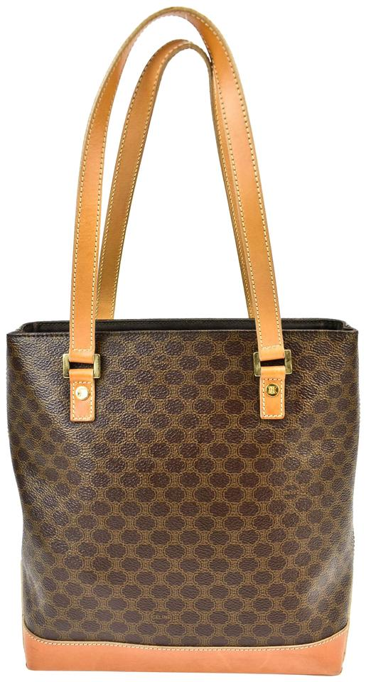 27ed7bb99d0d Céline Brown Jacquard Monogram Logo   Leather (O) Tote   Shoulder ...