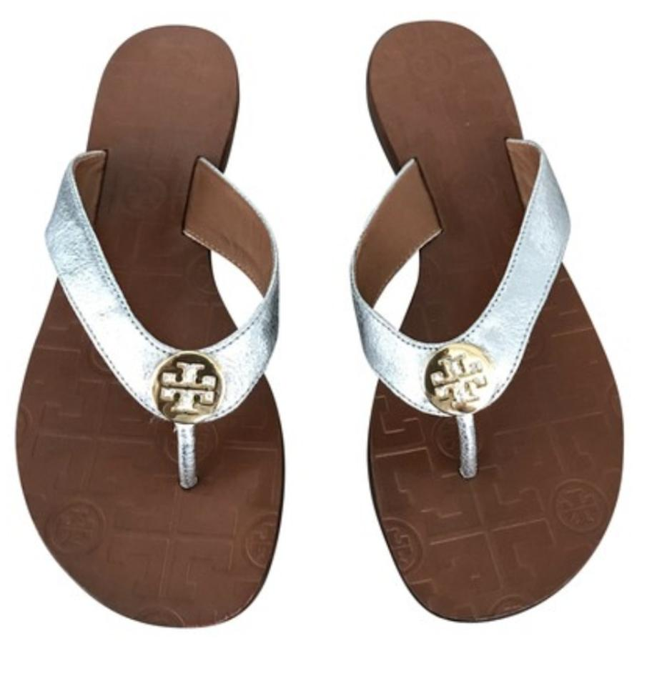 fc91a03fc1e882 Tory Burch Silver New Thora Flip Flops Sandals Size US 8 Regular (M ...
