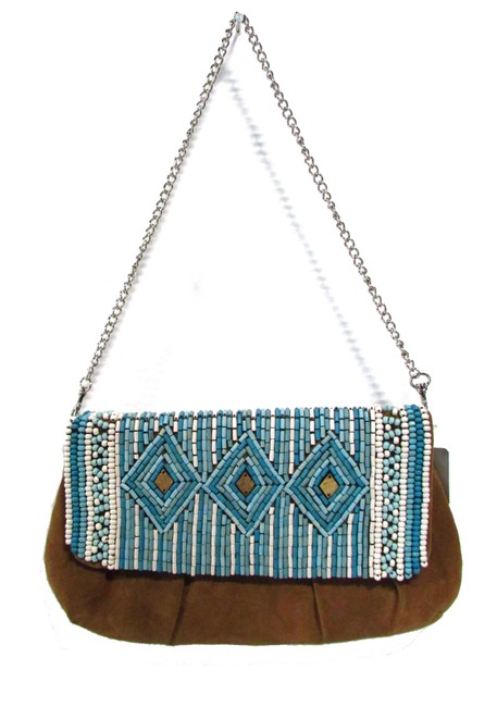 Item - Clutch Bulsa Beaded Chain Tan/Blue Polyester Shoulder Bag