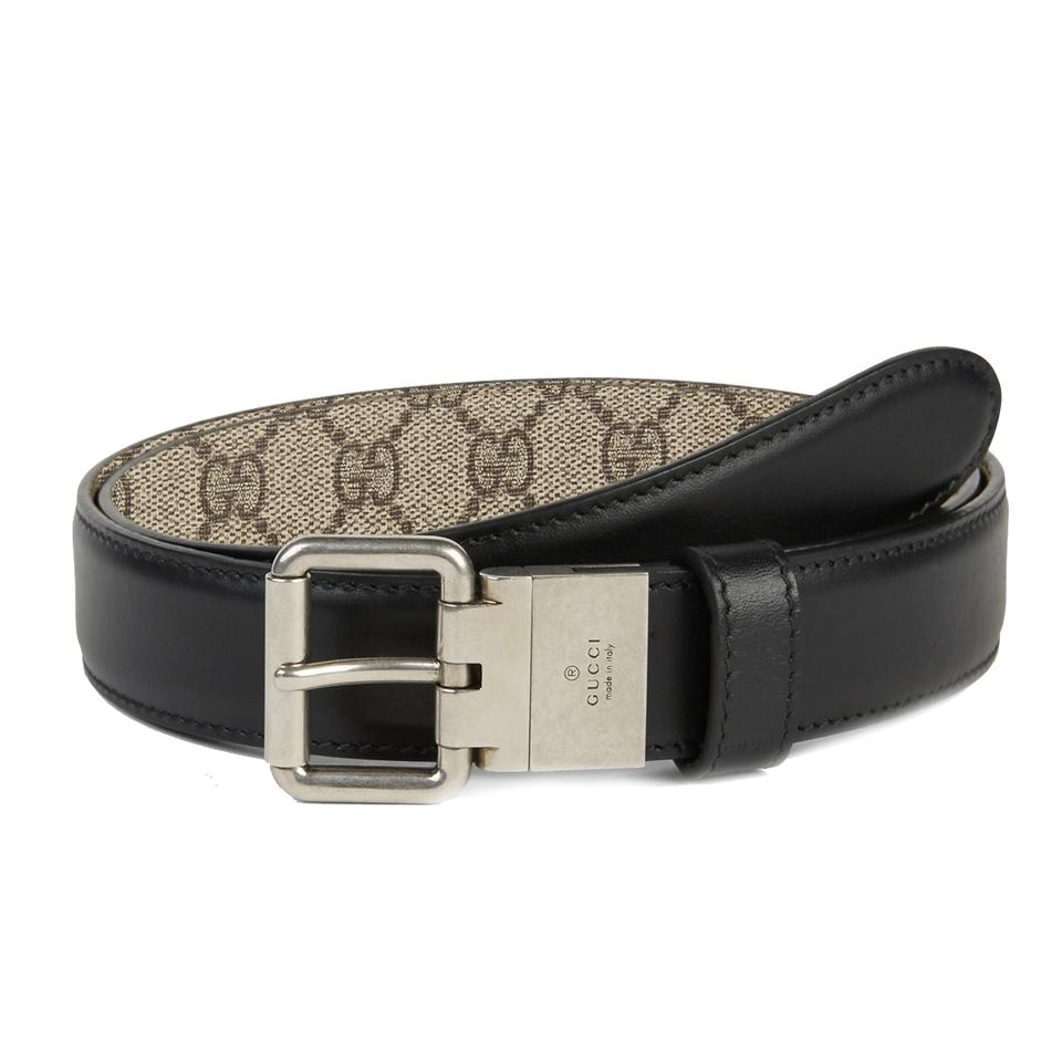 04be6627ce590 Gucci Black Beige Men s Gg Supreme Reversible Canvas 387035 Size  42 Belt