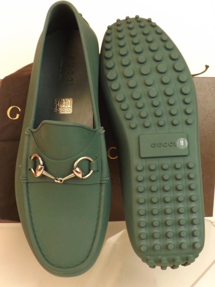 9dfb974823c Gucci Green Horsebit Verde Rubber Silver Tone Driver Loafers 11 12   386586  Shoes Image 11. 123456789101112