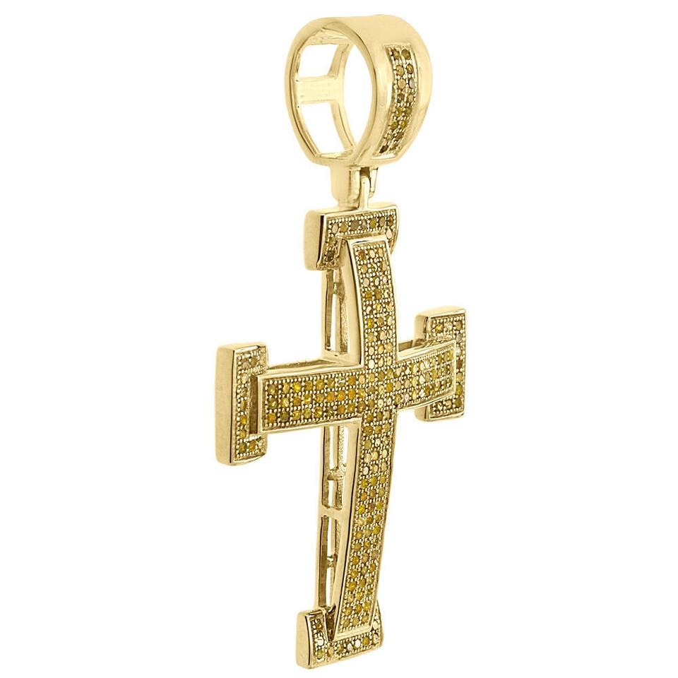 Jewelry for less yellow gold 10k canary diamond cross pendant 195 diamond cross pendant 195 1234 aloadofball Gallery