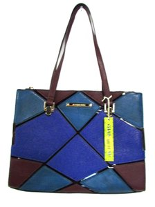 Gianni Bini Faux Leather Patchwork Casual Satchel in Blue
