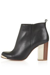 Topshop Metal Leather Ankle Heel Black Boots