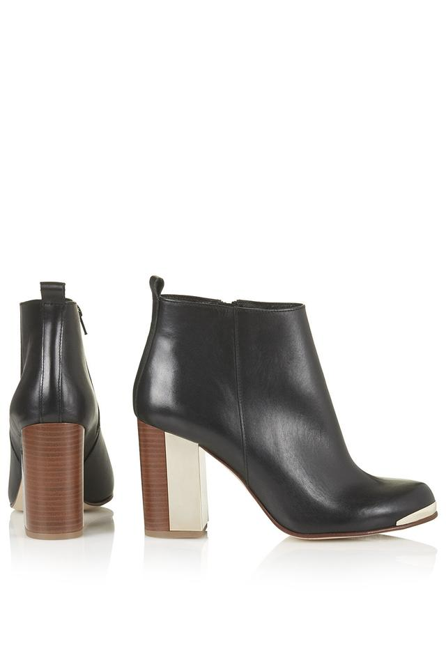 21f183f842f Topshop Black Mischief Leather Gold Metal Heel Ankle Boots/Booties Size EU  36 (Approx. US 6) Regular (M, B)