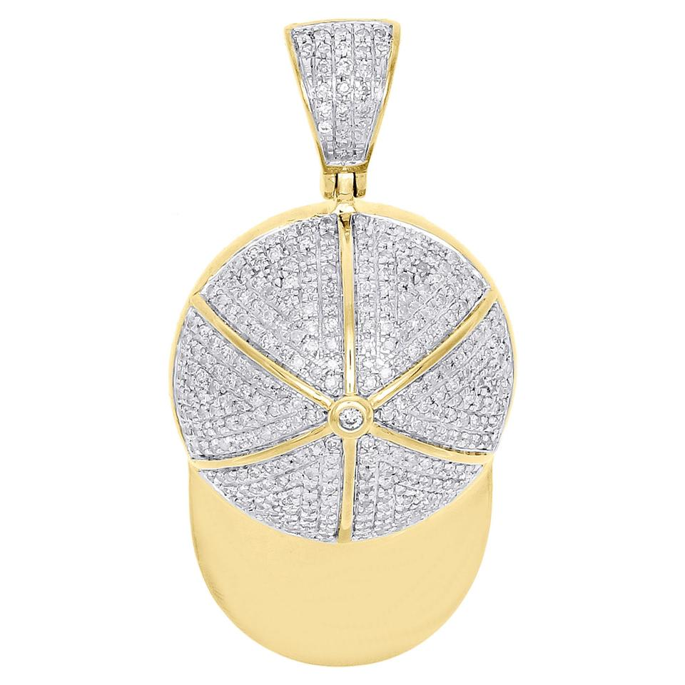Jewelry for less yellow gold 10k diamond baseball cap hat pendant jewelry for less 10k yellow gold diamond baseball cap hat pendant sports charm 068 ct aloadofball Image collections