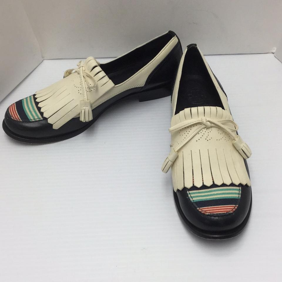 675e9ec89a24 Tory Burch Navy   Ivory Navy   golf Inspired  Loafers Flats Size US ...