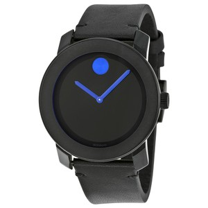 Movado Movado Bold Black Dial Black Leather Band Black Ion-Plated Stainless S