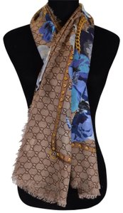 Gucci NEW Gucci Women's 508797 Large Wool Blue Pansie BLOOMS GG Scarf Shawl