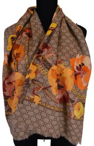 Gucci NEW Gucci Women's 508797 Large Wool Orange Pansie BLOOMS GG Scarf Wrap